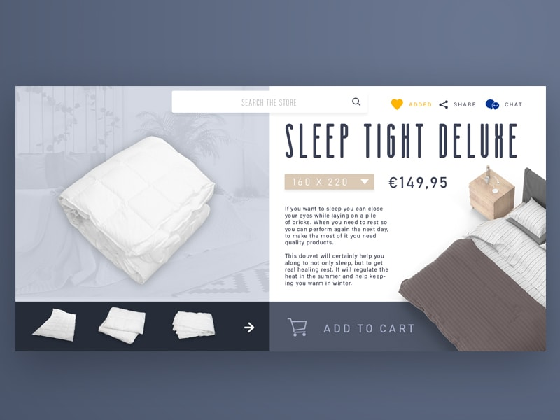 Sleep Shop product pagina design