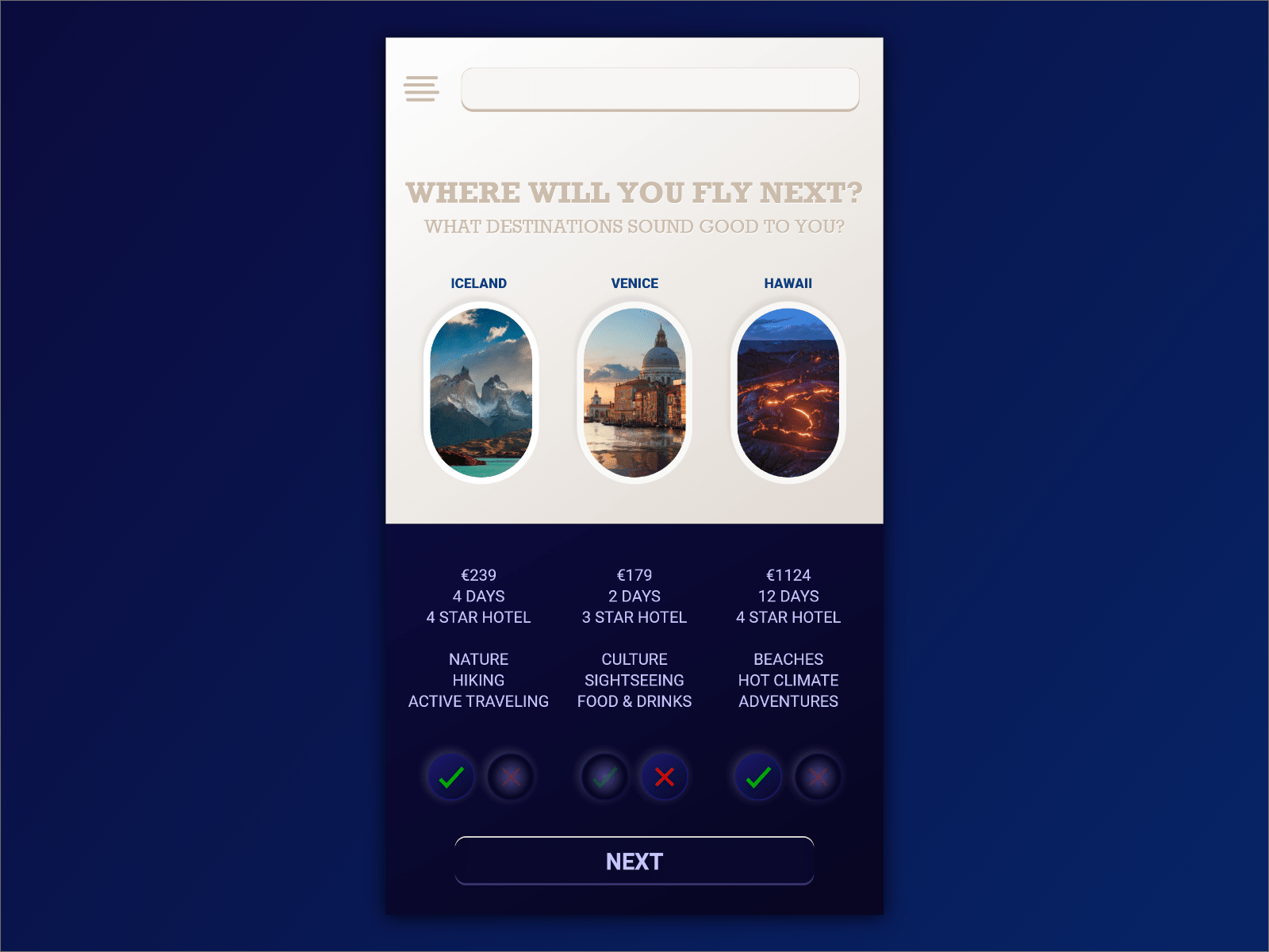 Travel App prototype design